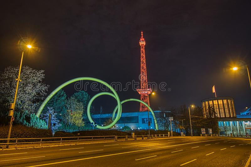 Nightshot of the radio tower and exhibition grounds in Berlin. Nightshot of the illuminated radio tower and exhibition ground in Berlin Germany stock images