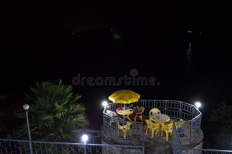 Nightshot of a Resort at Lake Kivu, Kibuye, Rwanda. Nightshot of a Resort at Lake Kivu, Kibuye in Rwanda stock images