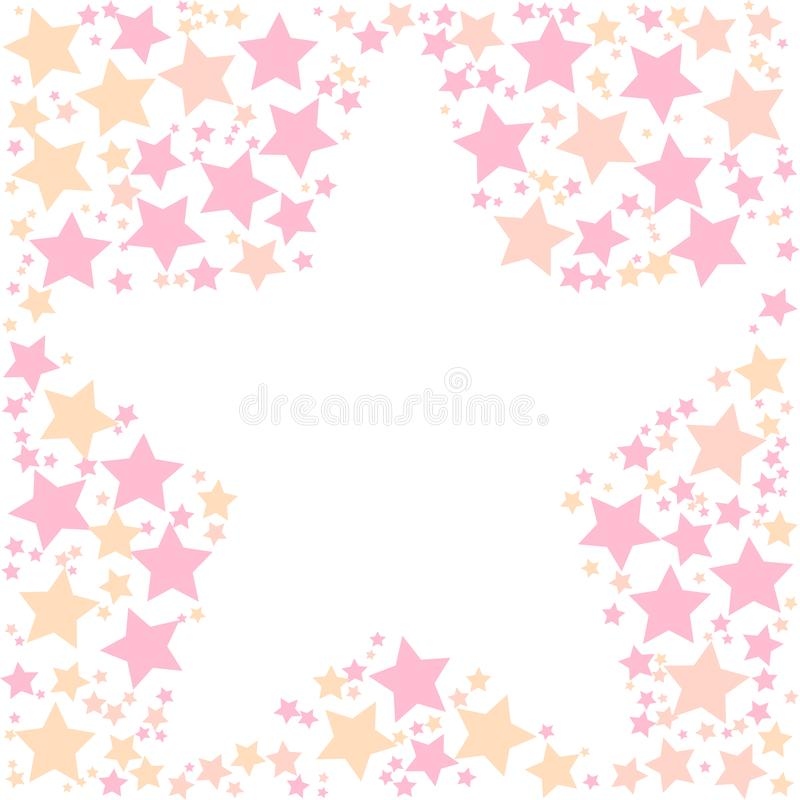 Frame shape of stars on a white background. Colorful flying stars confetti frame vector. Holiday party decor vector illustration