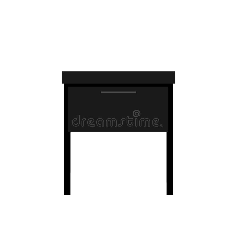Nightstand, bedside table, Table with drawer, a piece of interior, piece of furniture. Black palette royalty free illustration