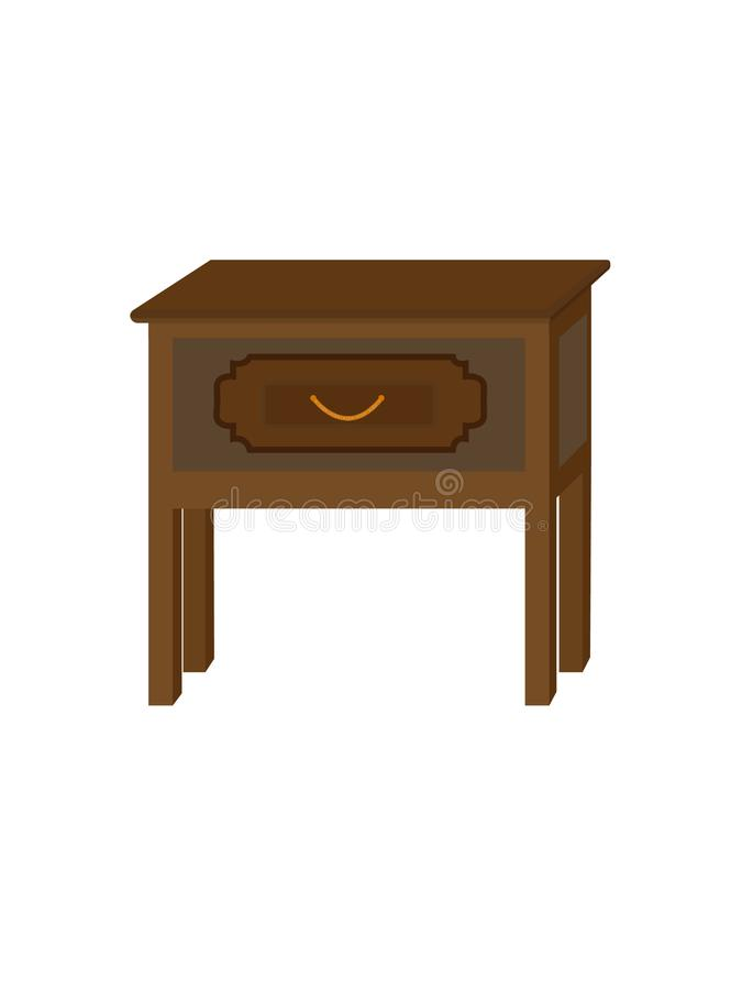 Nightstand, bedside table, Table with drawer, a piece of interior, piece of furniture. Drawer with drawer of square shape royalty free illustration
