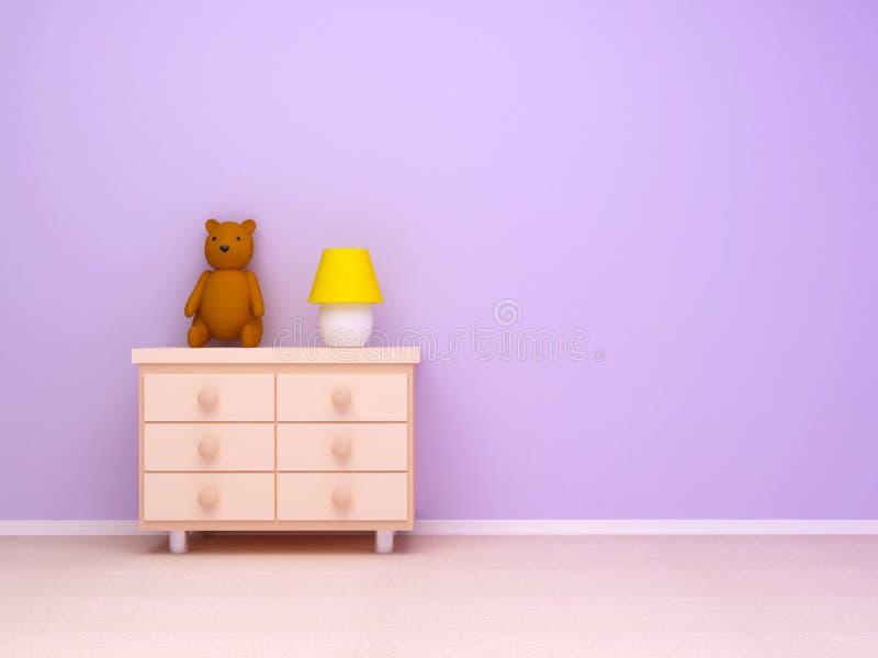 Nightstand con l'orso di orsacchiotto e della lampada illustrazione vettoriale