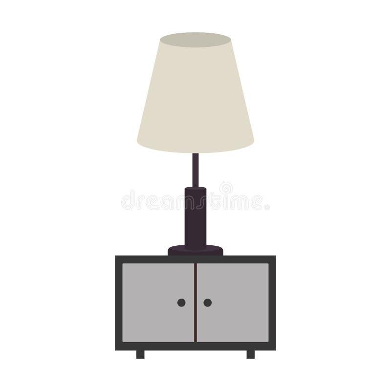 nightstand de la escala gris con la lámpara stock de ilustración