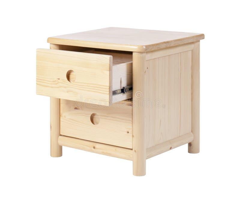 Nightstand en bois avec le tiroir ouvert d'isolement au-dessus du blanc images libres de droits