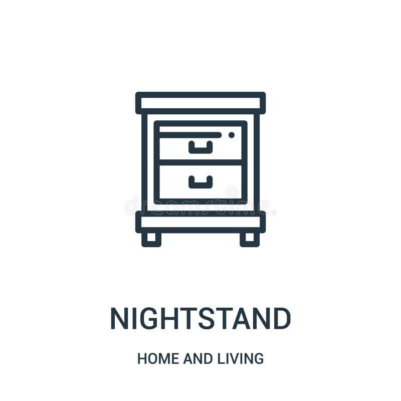 nightstand ikony wektor od domu i żywej kolekcji Cienka kreskowa nightstand konturu ikony wektoru ilustracja Liniowy symbol dla ilustracji