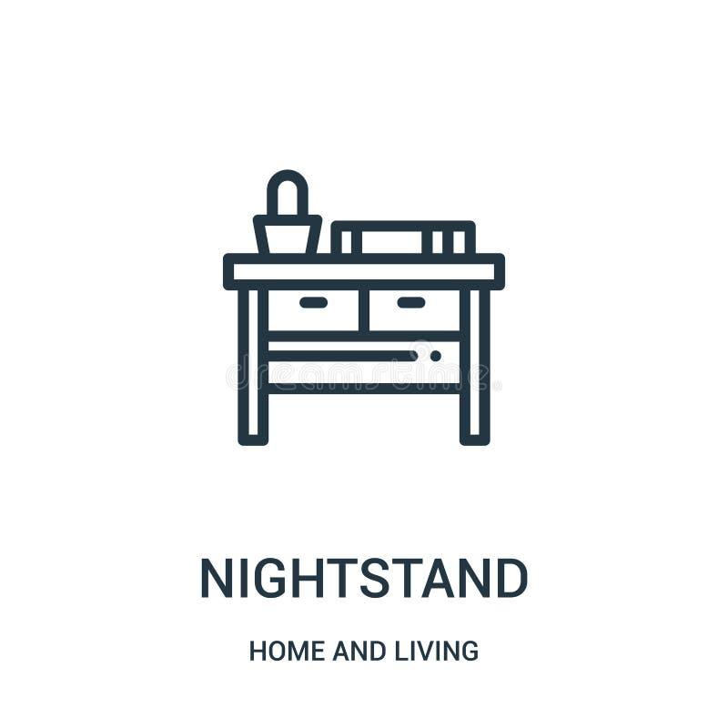 nightstand ikony wektor od domu i żywej kolekcji Cienka kreskowa nightstand konturu ikony wektoru ilustracja Liniowy symbol dla ilustracja wektor