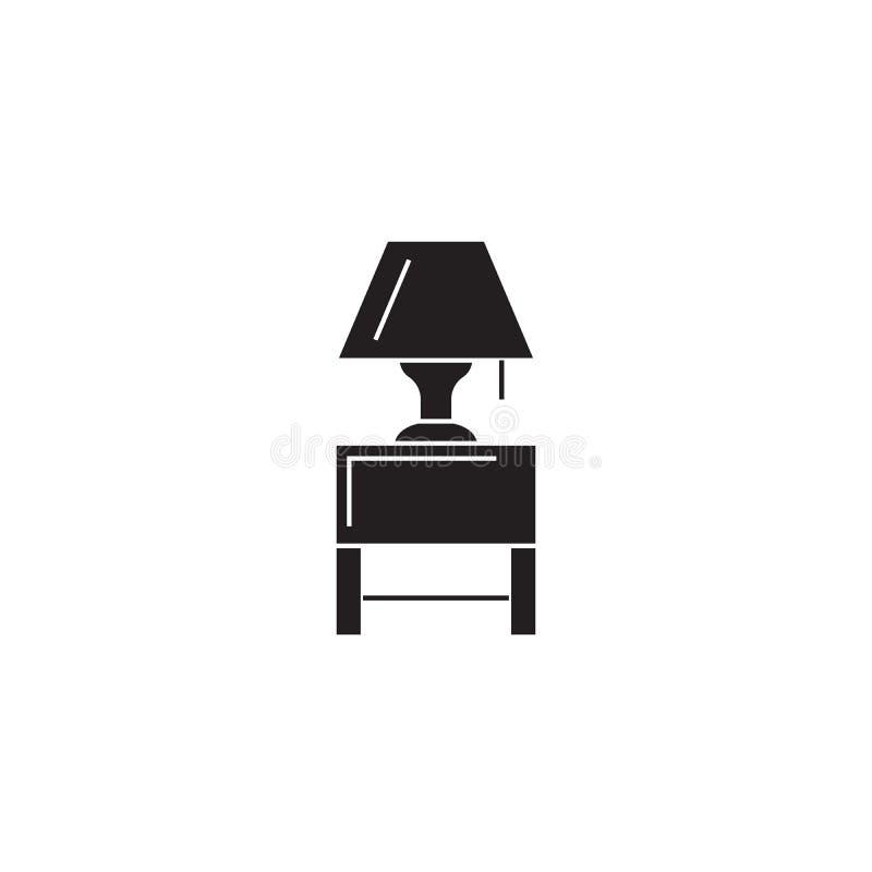 nightstand med en symbol för begrepp för vektor för lampsvart nightstand med en plan illustration för lampa, tecken vektor illustrationer
