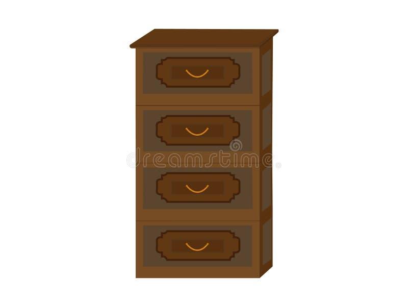 Nightstand, mesita de noche, pieza de los muebles interiores, elegantes, pecho de cajones ilustración del vector