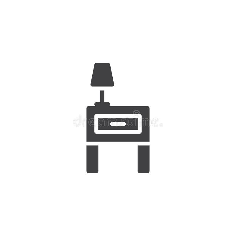 Nightstand och symbolsvektor för läs- lampa royaltyfri illustrationer