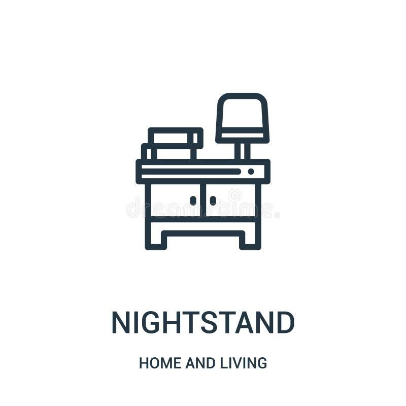 nightstand pictogramvector van huis en het leven inzameling De dunne lijn nightstand schetst pictogram vectorillustratie Lineair  royalty-vrije illustratie