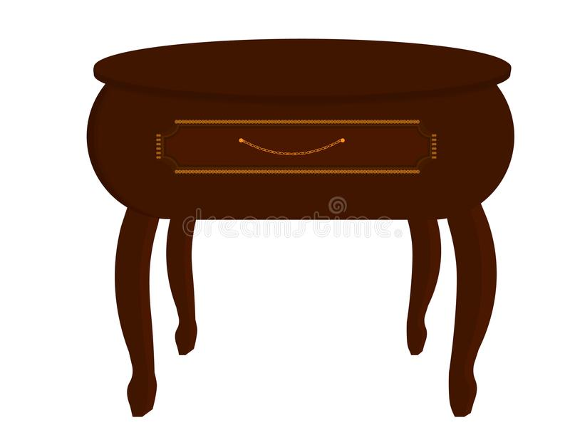 Nightstand, table next to the bed, small table with drawer, bedside table isolated. Brown stock illustration