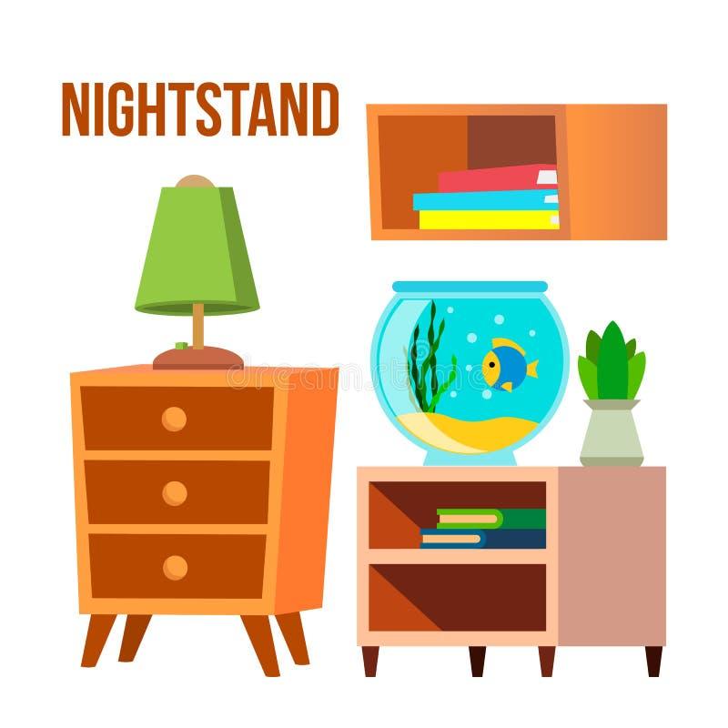 Nightstand, wezgłowie stoły, biurko kreskówki wektoru set ilustracja wektor