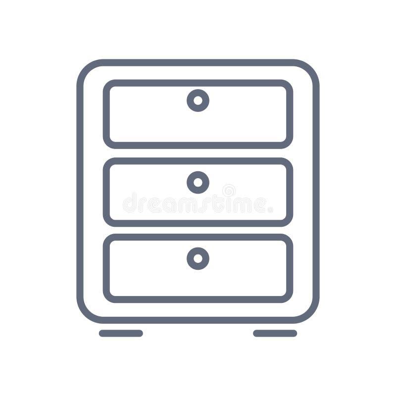 nightstandsymbolsvektor hemifr?n och bosatt samling Tunn linje illustration f?r vektor f?r nightstand?versiktssymbol vektor illustrationer