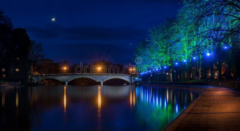 Nighttime Эвон реки Evesham стоковые изображения