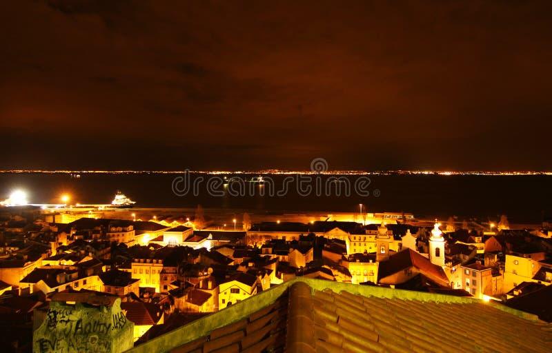 Nighttime в Лиссабоне, Португалии (Лиссабон) стоковое изображение