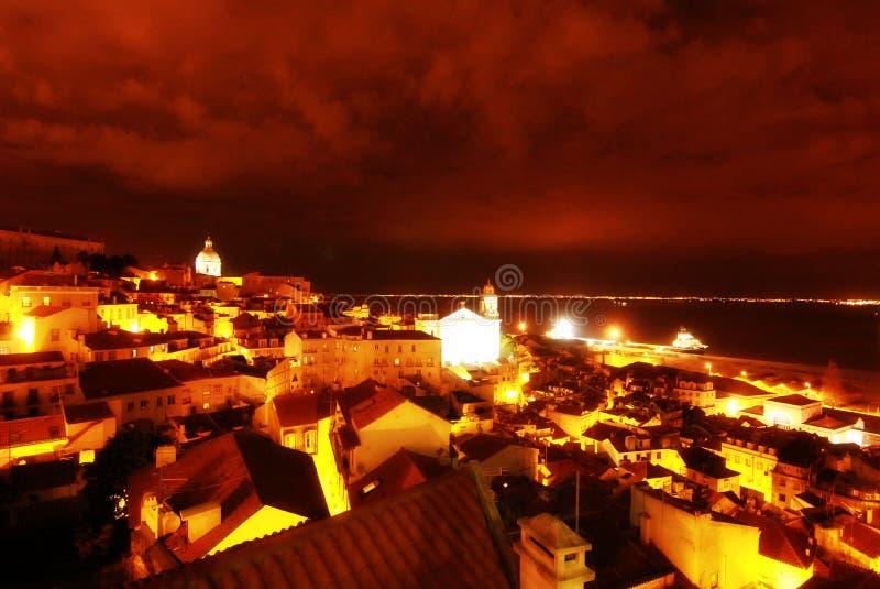 Nighttime в Лиссабоне, Португалии (Лиссабон) стоковые фотографии rf