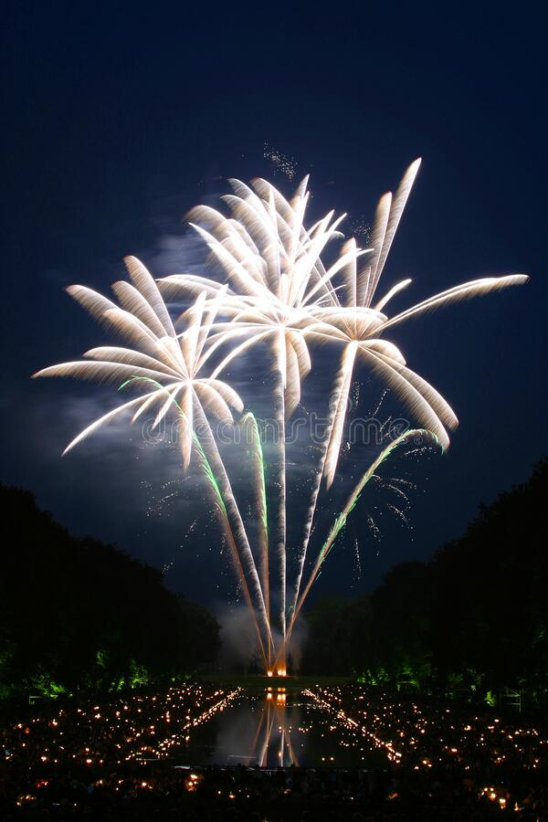 Фейерверки показывают во время Nighttime стоковая фотография rf