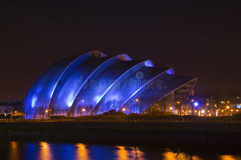 Nighttime armadillo. Glasgow's so-called 'Armadillo' building at night time stock photos