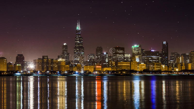 Nighttime Chicago Skyline, Illinois. A nighttime photo of the Chicago, Illinois skyline shot with a starry sky stock images
