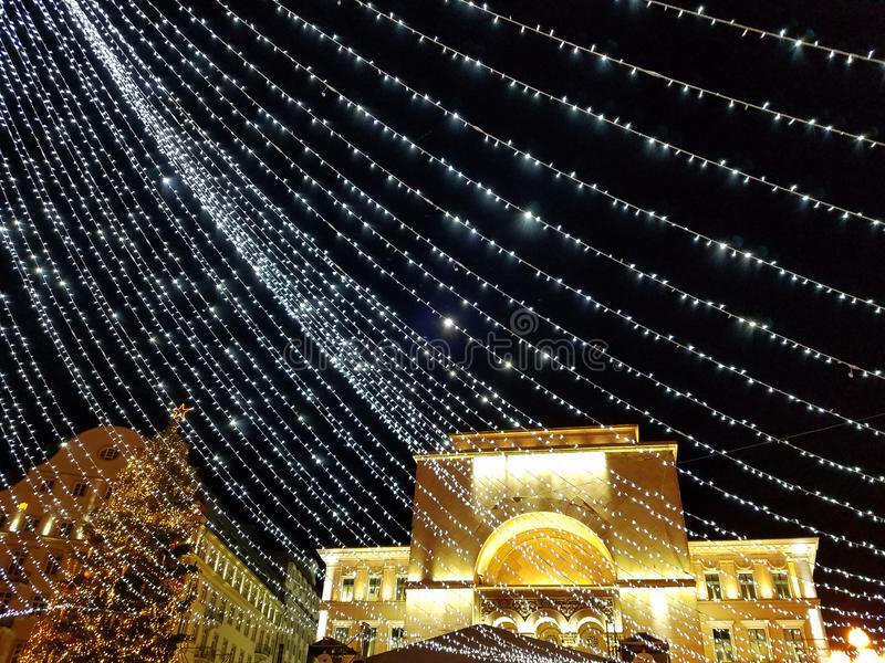 Nighttime Christmas decoration in the city. Nighttime Christmas lights decoration in the city of Timisoara, Romania stock images