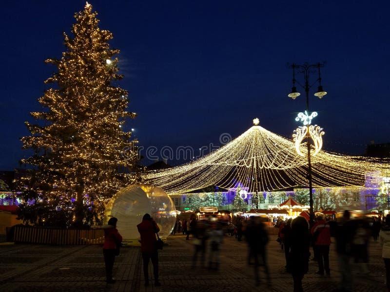 Nighttime Christmas decoration in the city. Nighttime Christmas lights decoration in the city of Timisoara, Romania stock photos