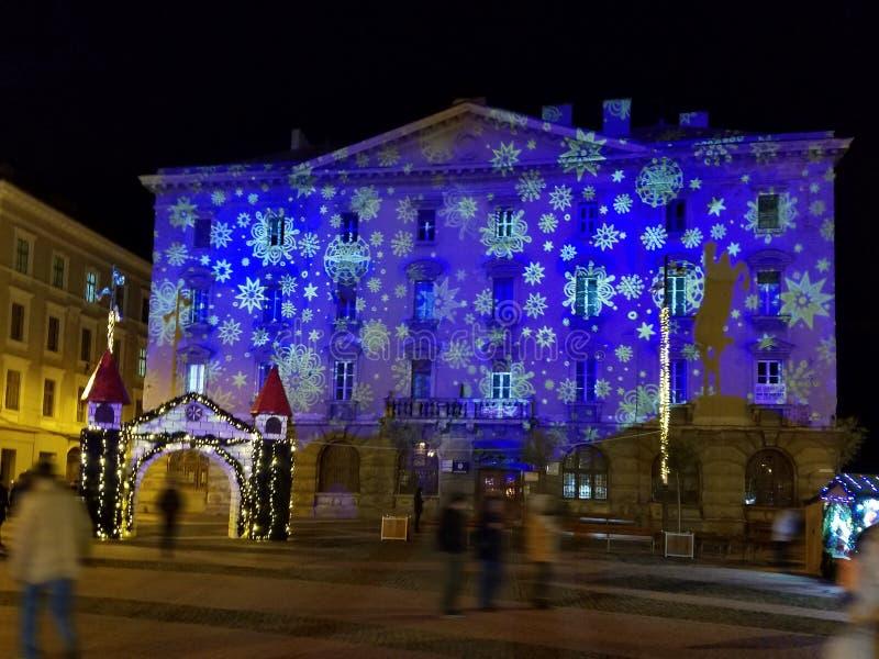 Nighttime Christmas decoration in the city. Nighttime Christmas lights decoration in the city of Timisoara, Romania royalty free stock image