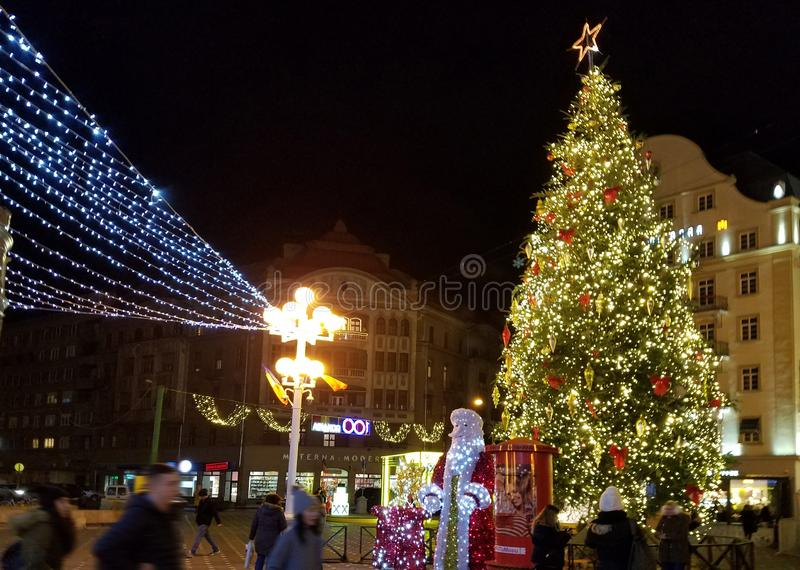 Nighttime Christmas decoration in the city. Nighttime Christmas lights decoration in the city of Timisoara, Romania stock photography