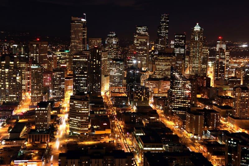 Nighttime em Seattle imagem de stock royalty free