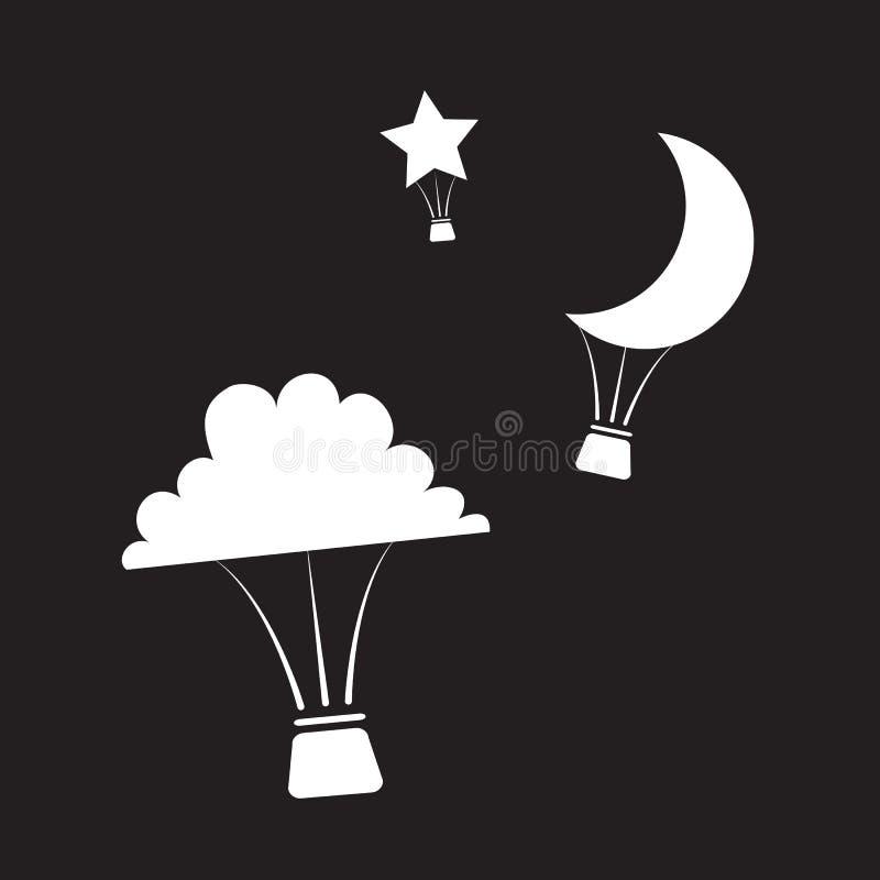 Download Nighttime Gorącego Powietrza Balony Ilustracja Wektor - Ilustracja złożonej z above, fantazja: 28963961