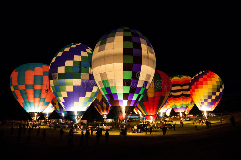 Nighttime at a Hot Air Balloon Festival royalty free stock photos