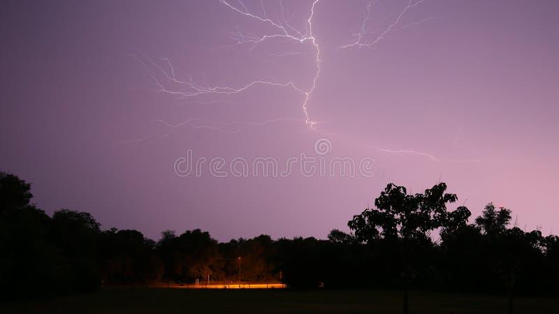 Nighttime lightening bolt. In Florida royalty free stock photos