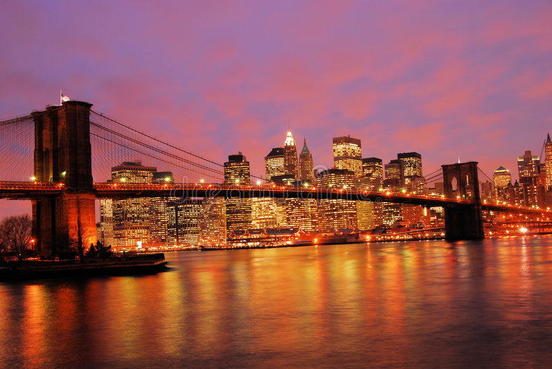 Nighttime for Manhattan stock images