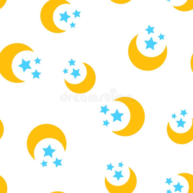 Nighttime moon and stars icon seamless pattern background. Business concept vector illustration. Lunar night symbol pattern. stock illustration