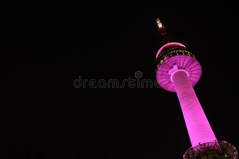 Nighttime of N Seoul Tower stock photos