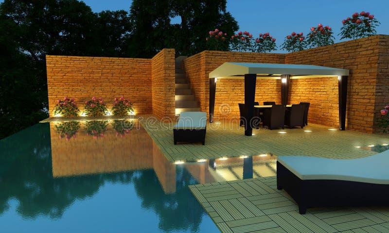 nighttime ogrodowa luksusowa willa ilustracja wektor