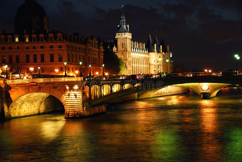 Nighttime Paris fotografia de stock