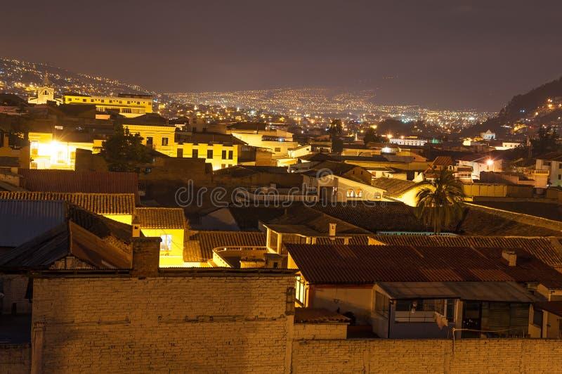 Nighttime Quito Ecuador arkivbild