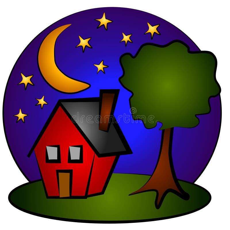 Nighttime Scene House Clip Art vector illustration