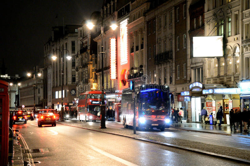 A nighttime view down The Strand in London. royalty free stock photos