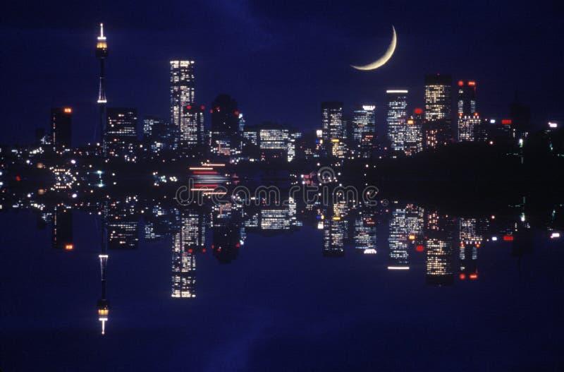 Nighttime widok miasto zaświeca, Sydney, Australia zdjęcie royalty free