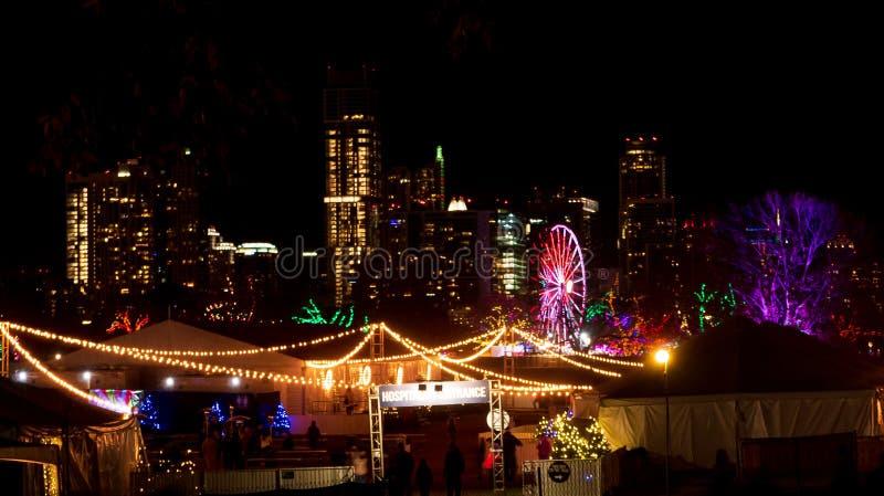 Nighttime widok wakacyjny karnawał przed linia horyzontu w centrum Austin, Teksas obrazy royalty free