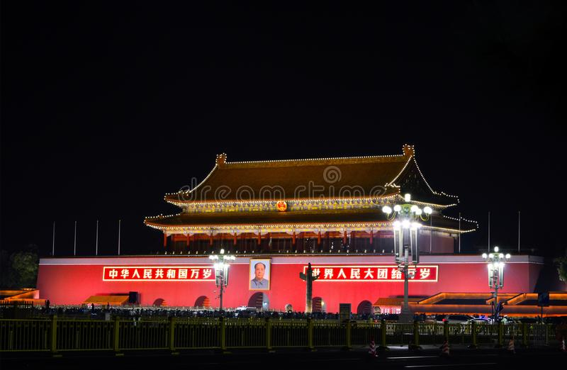 Nightview del ` famoso de la señal de Pekín la puerta del `, aka de Tiananmen divinos de la paz fotos de archivo libres de regalías
