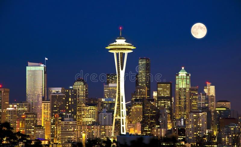 Nightview hermoso de Seattle del parque de kerry fotos de archivo