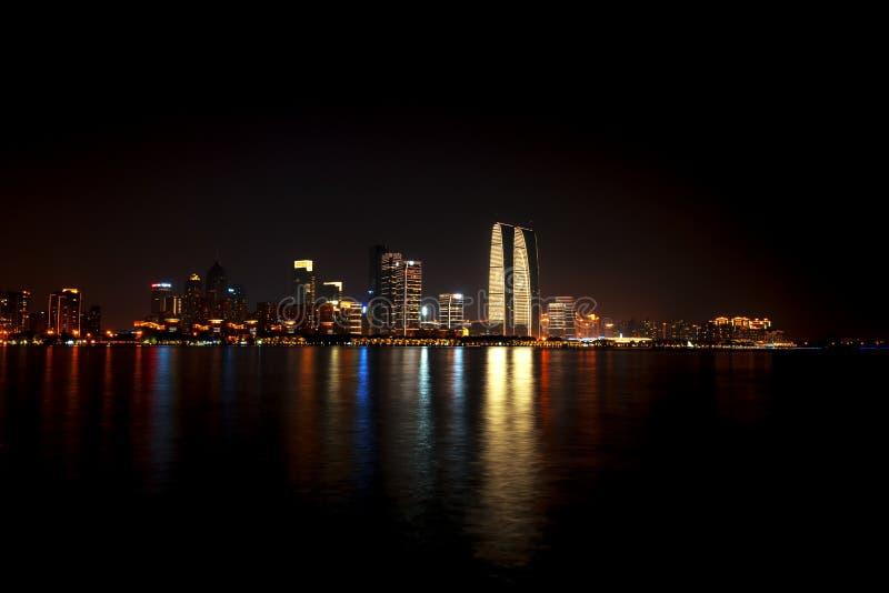 Nightview Jinjihu, на Сучжоу стоковые изображения rf