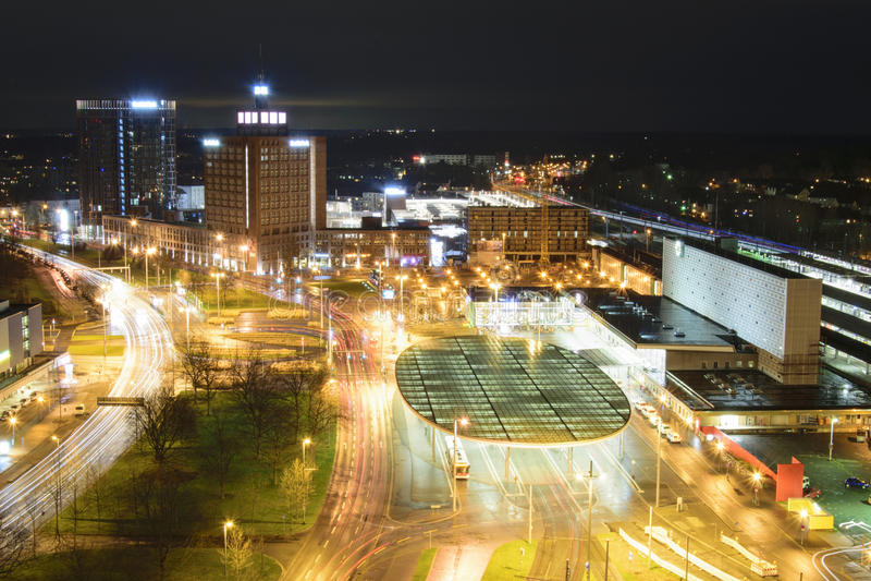 Nightview over Brunswick, Duitsland royalty-vrije stock fotografie