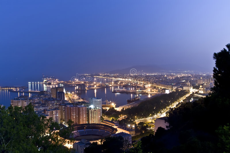Nightview over Malaga stock photography