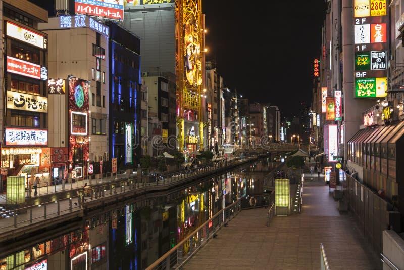 Nightview van Dotombori van enisu-Bashibrug in Osaka, Ja stock fotografie