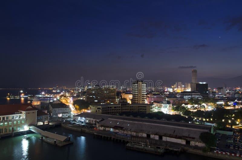 Nightview van Georgetown, Penang, Maleisië royalty-vrije stock afbeeldingen