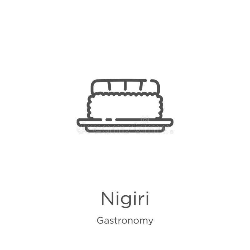 nigiri从美食术汇集的象传染媒介 稀薄的线nigiri概述象传染媒介例证 概述,稀薄的线nigiri象 库存例证