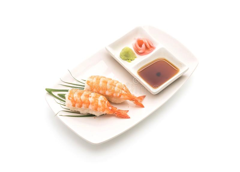 nigiri dei sushi del gamberetto - stile giapponese dell'alimento immagini stock